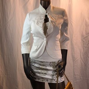 Marciano white linen Jacket outfit with miniskirt